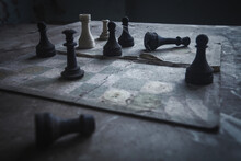Close-up Of Chess Board In Abandoned Room