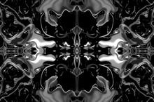 Textura Fractal Color Blanco Fondo Negro Con Distorsión