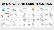 North And South America Vector Map Country Infographics. 24 Slide Presentation Templates. United States, Canada, Brazil, Mexico, Argentina And More.