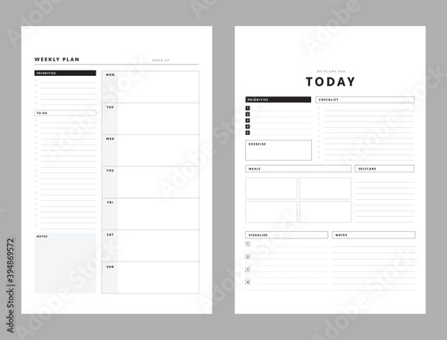 Obraz 2 Set of minimalist planners. Today and weekly planner template. Clear and simple printable to do list. Business organizer page. Paper sheet. Realistic vector illustration. - fototapety do salonu