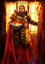 A Female Inquisitor, In Golden Armor, Stands At A Bright Window With A Fire Book In One Hand, And A Huge Flaming Mace In The Other, Her Face Reads Sanctity, A Halo Around Her Head. 2D Illustration.