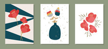 Collection Of Color Posters In Flat Style. The Drawn Elements Are Cut Out Of Paper. Red Japanese Camellia In A Vase, Plants And Abstract Figures On An Isolated Background For Postcards And Banners.