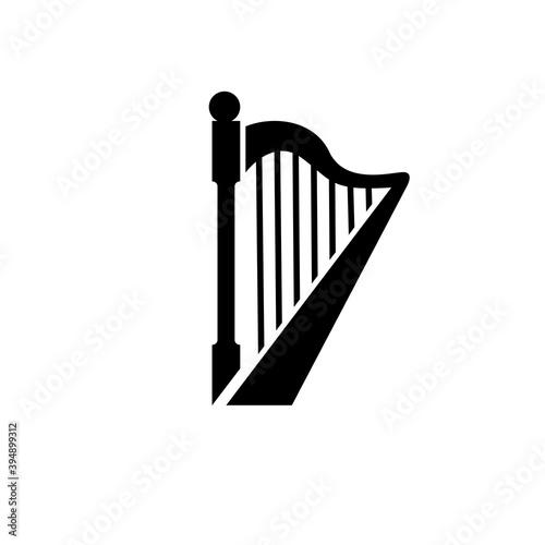 Fototapeta beautiful luxury classic harp vector icon flat design isolated background