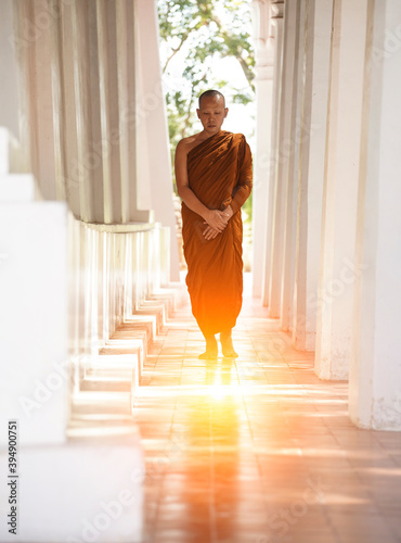 Monks meditation walk in Angkor Wat Canvas