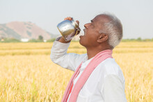 Thirsty Indian Farmer Drinking...