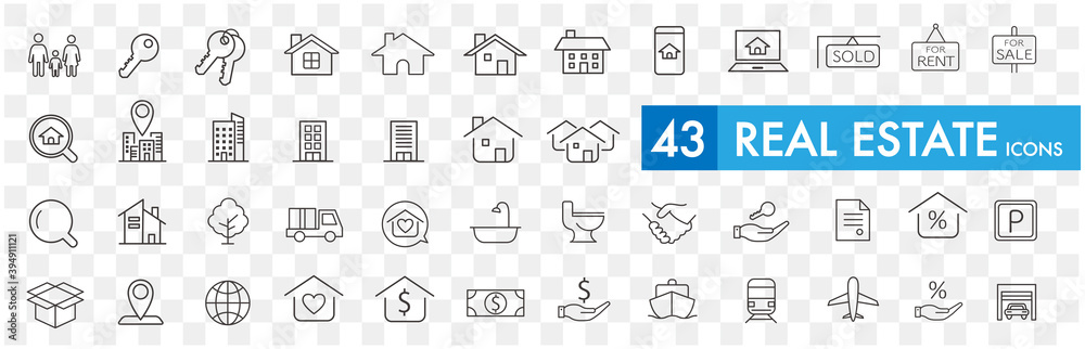 Fototapeta Real Estate icons collection vector