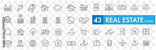 Obraz Real Estate icons collection vector - fototapety do salonu