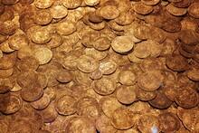 Full Frame Shot Of Golden Coins
