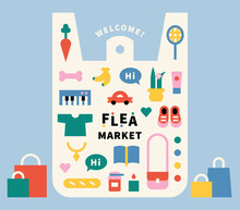 Flea Market Poster. Used Items And Local Food In Poly Bags. Flat Design Style Minimal Vector Illustration.