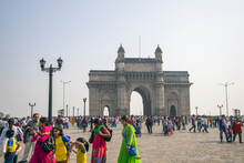 People Around The Gateway Of India Monument Stone Arch Completed In 1924 To Commemorate The Landing Of King George V On The Shore Of The Arabian Sea