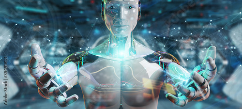White robot using floating digital network connections with dots and lines 3D rendering