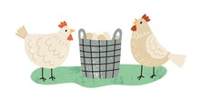 Two Hens Near Wicker Basket Full Of Organic Eggs. Pair Of Farm Free Range Chickens. Domestic Poultry. Local Eco Friendly Food. Hand Drawn Flat Textured Vector Illustration Isolated On White Background