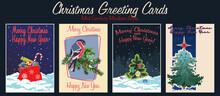 Christmas Greeting Cards Mid Century Modern Style, Christmas And New Year  Illustrations, Christmas Tree, Bullfinch, Santa Bag, Sweets, Snowfall