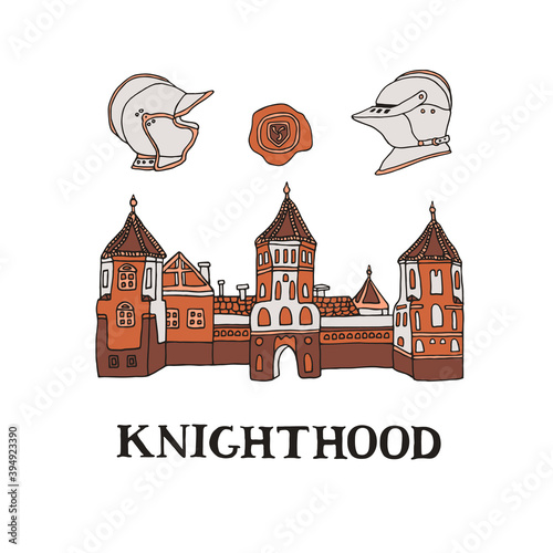 Fotomural Medieval castle illustration with knight helmets and wax seal stamp in hand drawn style