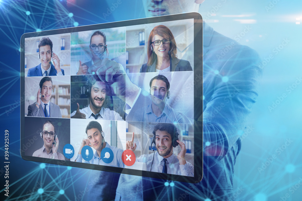 Fototapeta Concept of remote video conferencing during pandemic