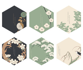 Japanese floral background vector. Asian icons and symbols. Vintage traditional template design. Abstract pattern and template. Geometric icon and logo design set with hand draw tree element.