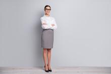 Full Length Photo Of Manager Girl Folded Hands Wear Eyewear White Shirt Short Skirt High Heels Isolated Grey Color Background