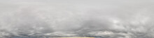 Sky Panorama On Overcast Rainy Day With Low Clouds In Seamless Spherical Equirectangular Format With Complete Zenith For Use In 3D Graphics, Game And For Aerial Drone 360 Degree Panorama As A Sky Dome