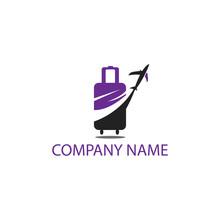 Travel Logo Illustration Bag Abstract Color Template Design Vector