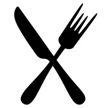 Cutlery. Silhouette. Knife And...