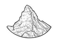 Matterhorn Mountain Of The Alps Sketch Engraving Vector Illustration. T-shirt Apparel Print Design. Scratch Board Imitation. Black And White Hand Drawn Image.