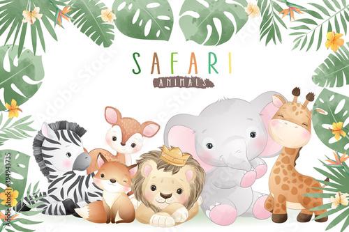 Fototapeta premium Cute doodle safari animals with floral illustration