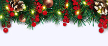 Christmas Decor With Of Pine Cone Branches, Lights, Red Berries, Pine Cone. Christmas Elements For Your Poster, Banner, Cards On White Background. Vector Illustration.