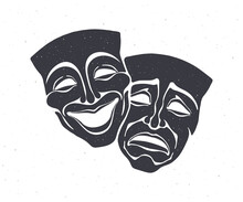 Silhouette Of Two Theatrical Comedy And Drama Mask. Vector Illustration. Bipolar Disorder Symbol. Positive And Negative Emotion. Film And Theatre Industry. Isolated White Background