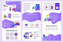 Digital Marketing Flat Landing Page. Social Media Marketing, Promotion And Advertising Corporate Website Design. Web Banner Layout With Header, Middle Content, Footer. Vector Illustration With People.