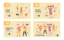 Friends Have Fun On Sport World Championship Landing Page Template Set. Young Football Supporter Fans Cheering