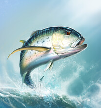 Bluefin Trevally Carax Striped Fish Illustration Realistic Art On Background Of Sea Waves Caranx Art. Big Fish Scombridae Jumps Out Of The Water.
