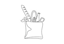 Grocery Bag One Continuous Line Drawing For Logo. Hand Drawn Shopping Bag With Baguette, Vegetables, Milk, Carrot. Grocery Store Design, Delivery Staple Food Concept. Modern Vector Illustration
