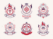 Set Of Luxury Heraldic Vector Templates. Collection Of Vector Symbolic Blazons Made Using Graphic Elements, Royal Crowns, Medieval Castles, Armory And Religious Crosses.