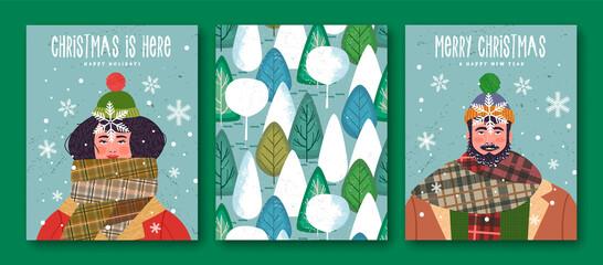 Panel Szklany Koszykówka Merry Christmas New Year winter scarf people cards
