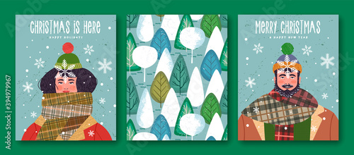 Obraz na płótnie Merry Christmas New Year winter scarf people cards