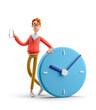 canvas print picture - 3d illustration. Nerd Larry with big clock. Time management concept.
