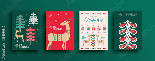Fototapeta Merry Christmas new year retro folk deer card set