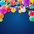 Holiday Background with Balloons. Can be used for advertisment, promotion and birthday card or invitation. Vector Illustration