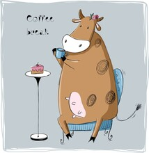 Funny Cow With Cup Of Hot Drink Has A Coffee Break, Vector Illustration, Cartoon Cute Character