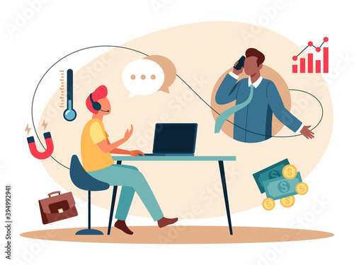 Vector illustration of the cold calling, is the solicitation of business from potential customers who have had no prior contact with the salesperson conducting the call