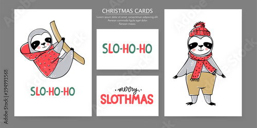 Fototapeta premium Cute Sloth, Merry Christmas cards collection. Vector funny illustrations for winter holidays. Doodle lazy sloths bears and lettering inscriptions. Happy New Year and Xmas animals set