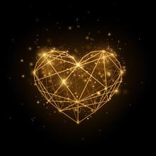 Glitter Gold Heart On Black Background