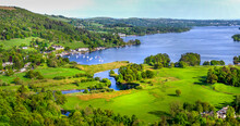 The Vast Expanse Of Lake Windermere Shown From Above The Village Of Ambleside In The British Lake District.