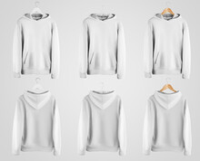 White Hoodie Mockup On Wooden And Fabric Hanger, Blank Clothes With Pocket Isolated On Background, Front And Back View.