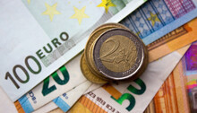 Euro Money And Various Coins C...