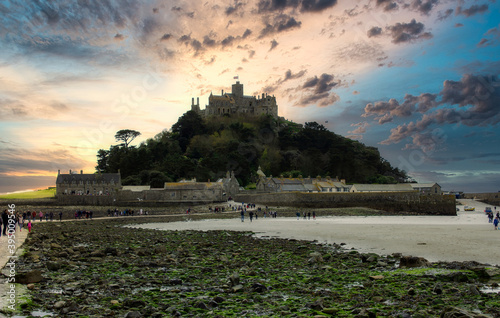 St Michael's Mount near Marazion in Cornwall. Dramatic sunset sky Poster Mural XXL