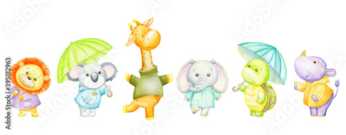 Lion, Koala, giraffe, elephant, turtle, hippopotamus, umbrellas. Watercolor set of tropical animals.