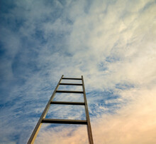 Staircase  Against Blue Sky. Motivation Business Career Growth Concept