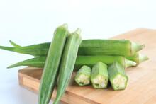 Fresh Vegetable Okra On Wooden...