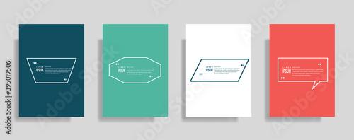 Fototapeta Quote frames blank templates set. Text in brackets, citation empty speech bubbles. Text box isolated on color background. obraz na płótnie